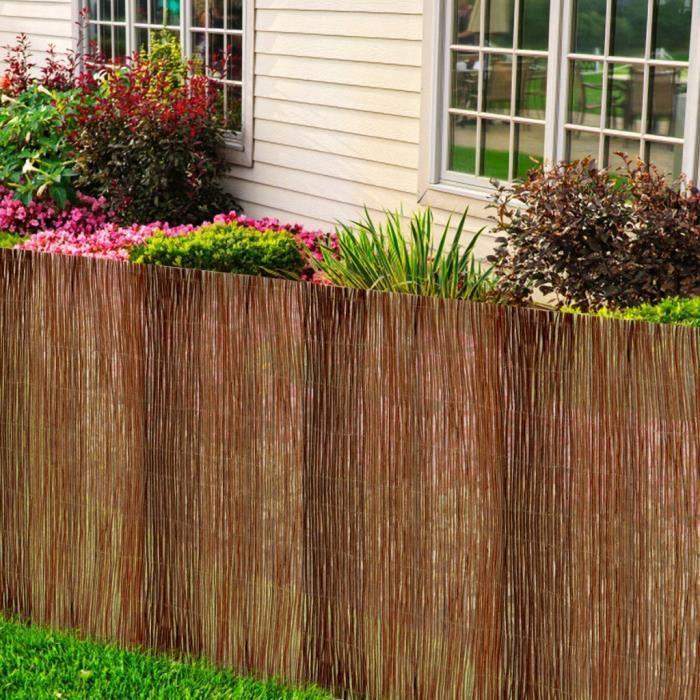 Jardin de saule osier clôture tissé avec fil galvanisé, boucle ...