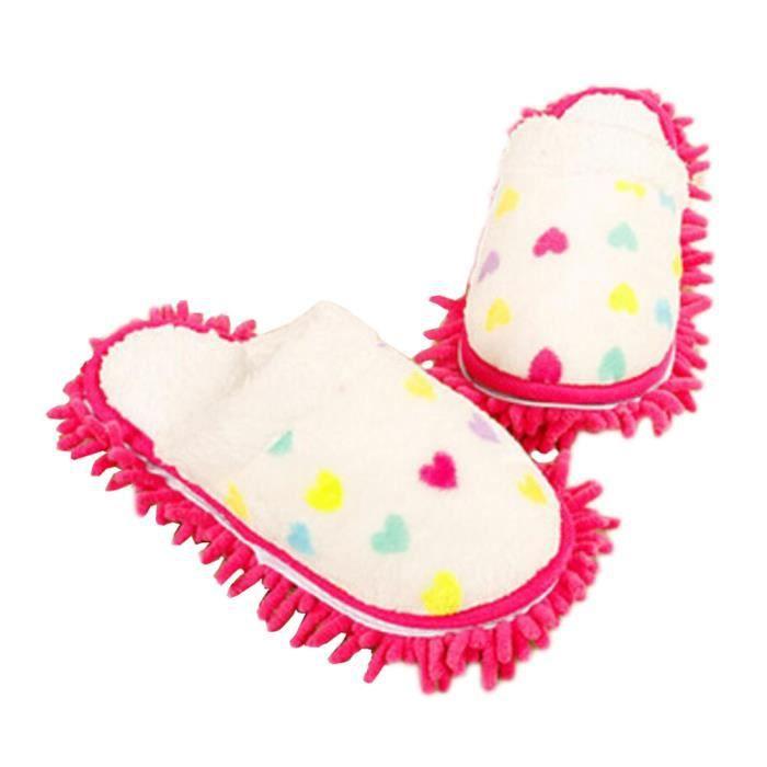 Peluche Épaissir chaussons nettoyage Pieds pantoufles floue Longueur 24.5 cm -01 ng6HDn