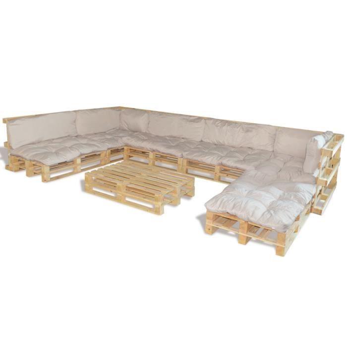 Salon de jardin en palette 13 coussins blanc inclus - Achat / Vente ...