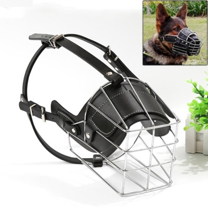 (#92) Steel Cage Style Dog Basket Wire Muzzle Protective Snout Cover With Leather Strap, Size: Xxl