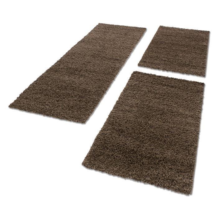 Tapis de lit Shaggy chambre à coucher Hochflor long pile 3 pcs [brun ...