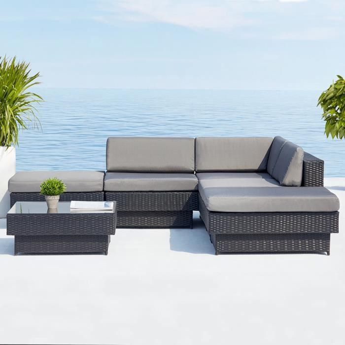 Amorgos gris : salon de jardin d\'angle en résine tressée noire poly ...