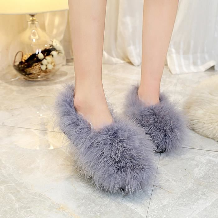 fausse fourrure moussante et chaude femmes douces chaussures en cuir Chaussures Flip flop sandale sl6N27e0R