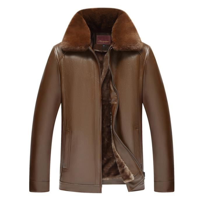 D'homme Imitation Cuir Pure Tops En De Zipper Fourrure Col D'hiver Couleur Amovibles Marron Manteau xqwatx071