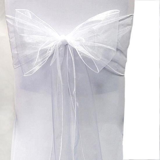 Lot 25 Noeuds Chaise Organza Blanc Pur Bapteme Decor Fete Mariage Nuptiale Anniversaire