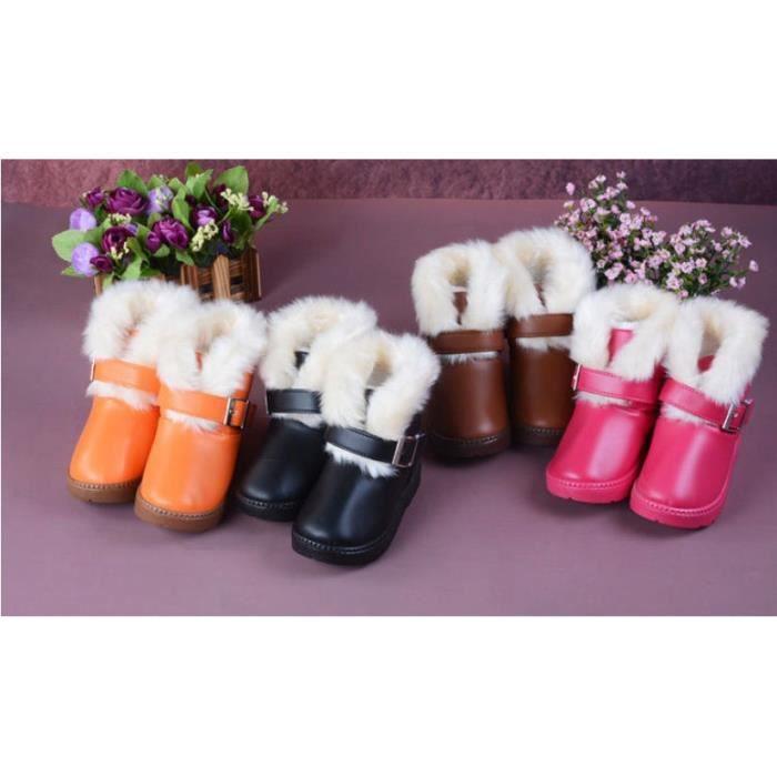 Filles hiver d'enfants Warmers Bo rose 10.5rose 10.5 ttes de neige imperméable cheville Chaussures bottillons