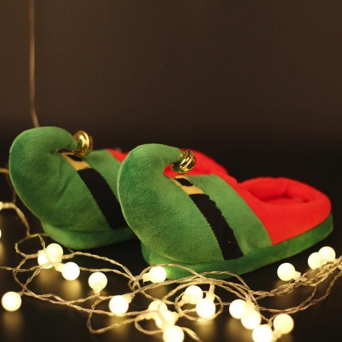 Pantoufles Femmes Hommes en peluche Hiver Noël Adulte Chaussons doux et chauds Casual DTG-XZ135Vert36 olpRPcTIz