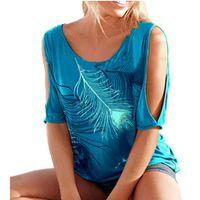 T-SHIRT T Shirt Sexy Femme D'été Plume Imprimé Epaule Nu L
