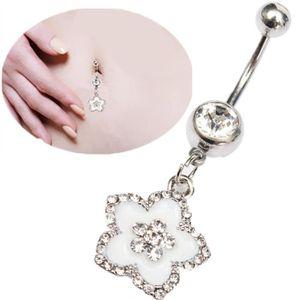 PIERCING BANANE Piercing de Nombril Crystal Rhinestone Fleur Petal