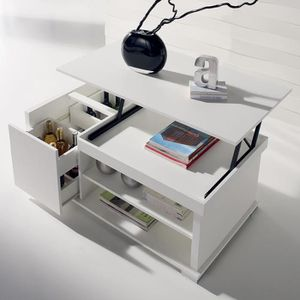 TABLE BASSE Table basse modulable blanche design AUDE 2
