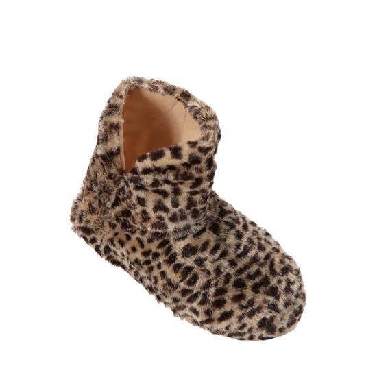 Chaussons Boots - BEIGE Beige Léopard   beige - Achat   Vente chausson -  pantoufle - Soldes  dès le 9 janvier ! Cdiscount bfa12530bfc0