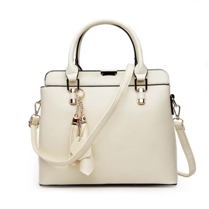FMAILY®2017 1PCS style européen PU en relief sac à main en cuir Messenger Bag (Beige)