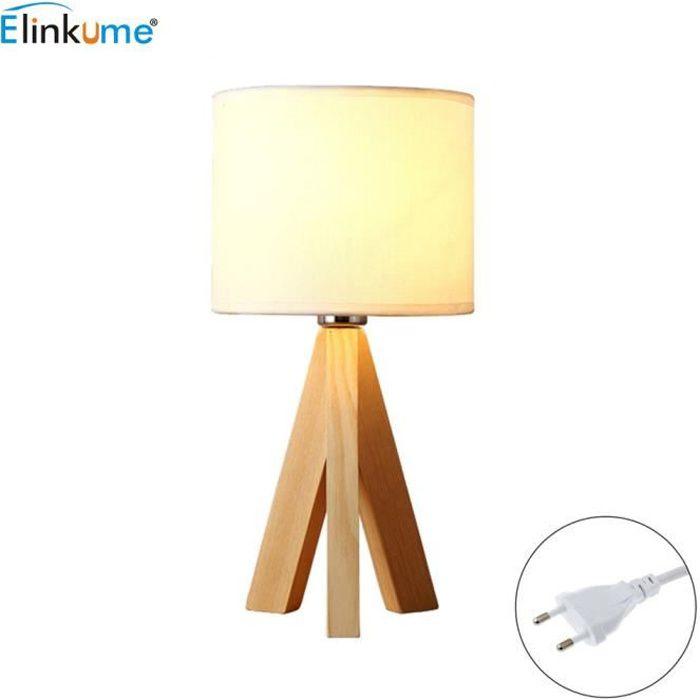 Lampe A Poser Naturel Bois Trepied E27 H 23 Cm X O18 Cm Abat Jour