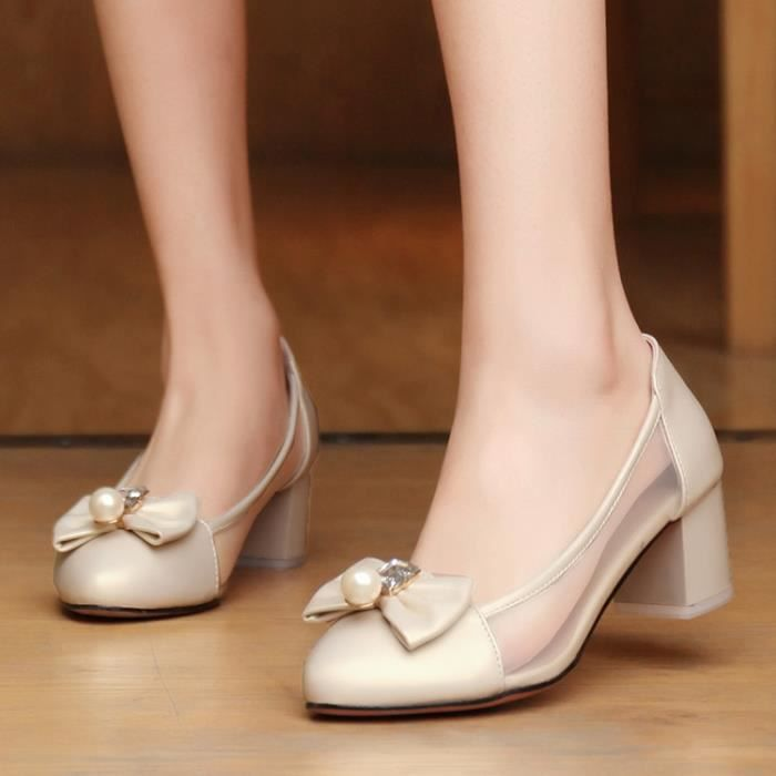 talons hauts-Pure Color Thick Heel Low Heel Fem...