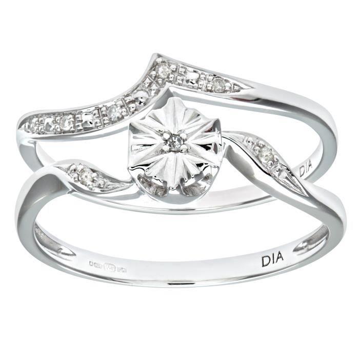 Revoni Bague Diamant Or Blanc 375° Femme: Poids du diamant : 0.03 ct - CD-PR09819W-N