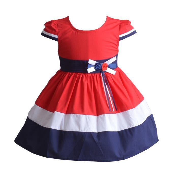 5a38d889a4ba3 Cinda Robe de soirée de filles coton trois été Rouge 6-7 Ans Rouge ...