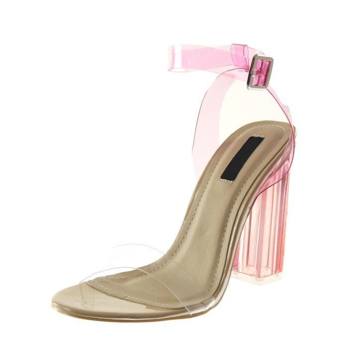 Angkorly - Chaussure Mode Escarpin Sandale lanière cheville femme lanière transparent flashy Talon haut bloc 12 CM - Rose - B7816 T