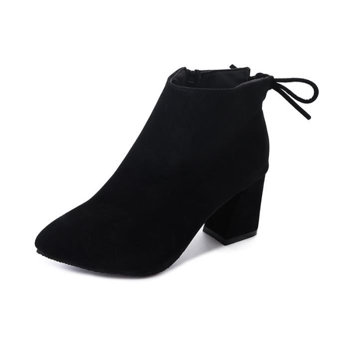 Bottes pour femmes, automne 2018, nouveau style, confort, mode, pointu, talon épais, bouche de poisson, bottes femelles, bottes