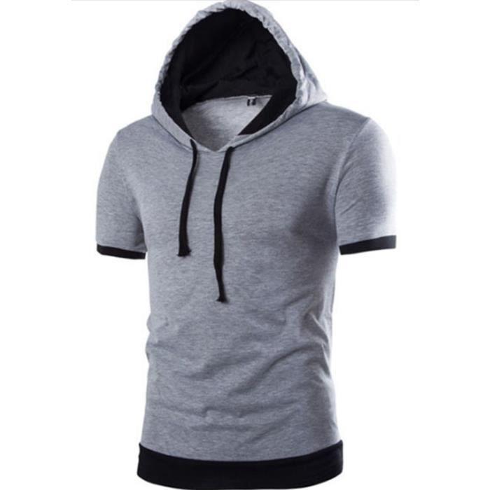 96745e69317ea T shirt hommes col rond de Fashion en à capuchon en Casual fit en T shirt  homme Vêtement Masculin à manches courtes