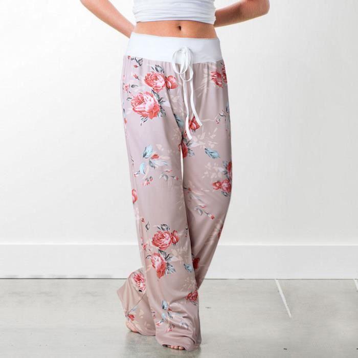 16887edeca82b Pantalon De Sport Femme Pyjama Ample Elastique Jogging Fluide Léger Yoga  Pants Grande Taille Floral Imprimé Jambe Large Décontracté