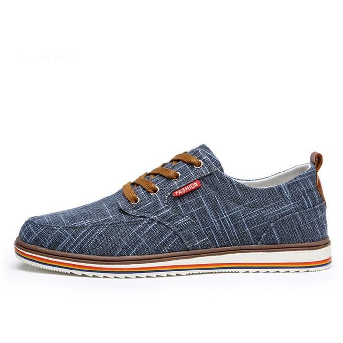 Chaussures En Toile Hommes Basses Quatre Saisons Durable FXG-XZ133Gris48 N9vVnM3J
