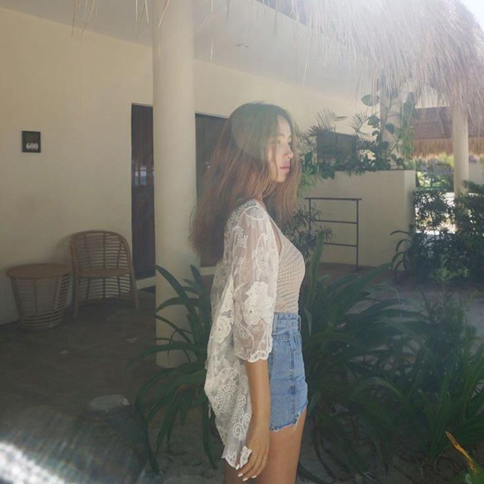 Feitong Recouvrir Dentelle Kimono Cardigan Vrac Blanc Châle Top D'été Femmes Plage En vvfUwF5Zrq