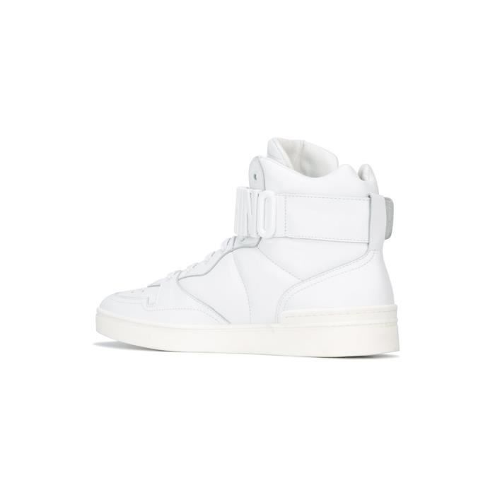 MOSCHINO HOMME 563549103 BLANC CUIR BASKETS MONTANTES