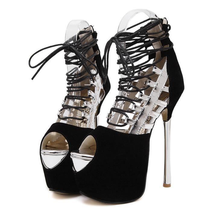Bandage Escarpin Talon gei Argent Chaussures Femmes Sexy Peep Sandales Toe Mode 983 À gn85Owxq