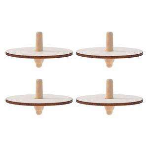 TOUPIE - LANCEUR 4pcs en bois jouet de dessus en rotation enfants p