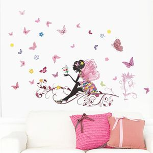 STICKERS Papillon Fleur Fée Stickers Muraux pour Enfants Ch