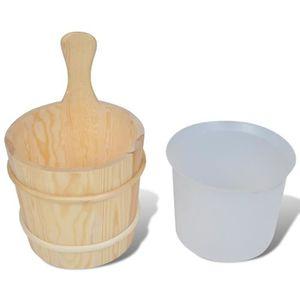 seau en bois naturel pour salle de bain Seaux en bois avec poign/ée louche pour sauna Accessoires de bain SPA Seau en bois