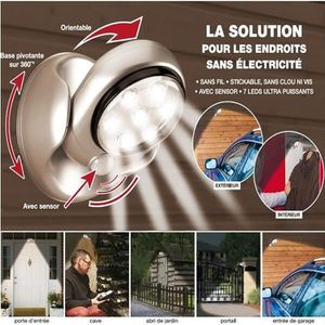 LAMPE DE JARDIN  Lampe 7 leds à détecteur de mouvement orientabl…