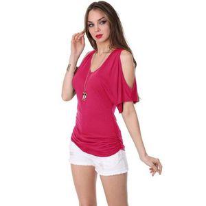T-SHIRT T-shirt Femme V-cou Manche Courte Épaules De Rosée