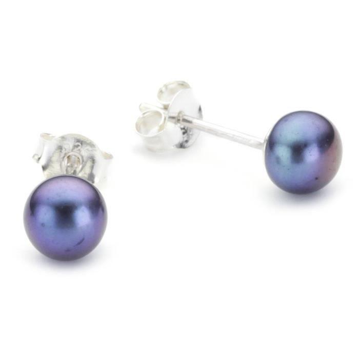 Femmes en argent sterling et perles Boucles doreilles HJ68N