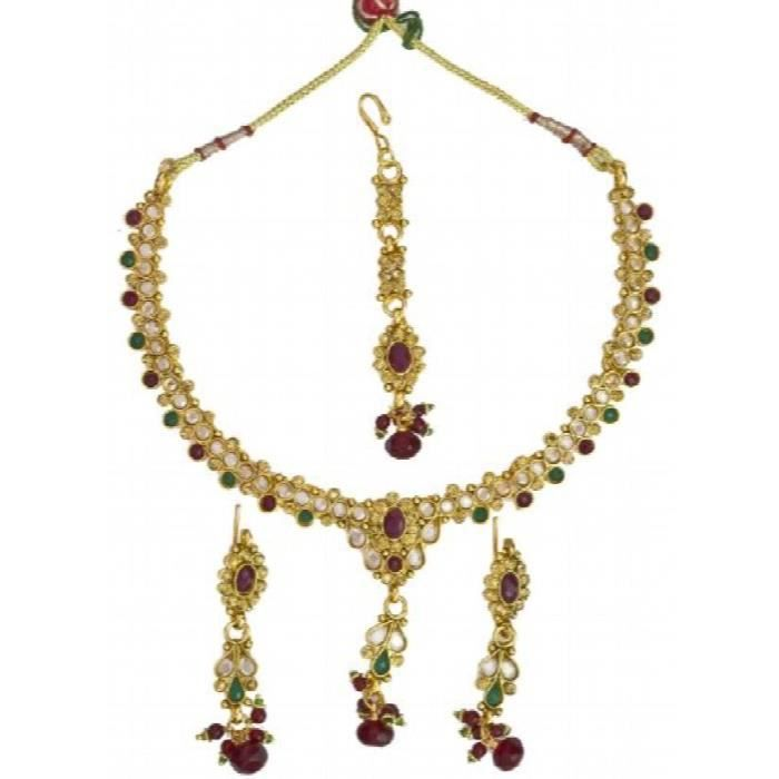 Womens Faux Ruby And Emerlad Necklace Set With Cut Glass - Copper Alloy With Cut Glass D5PKH
