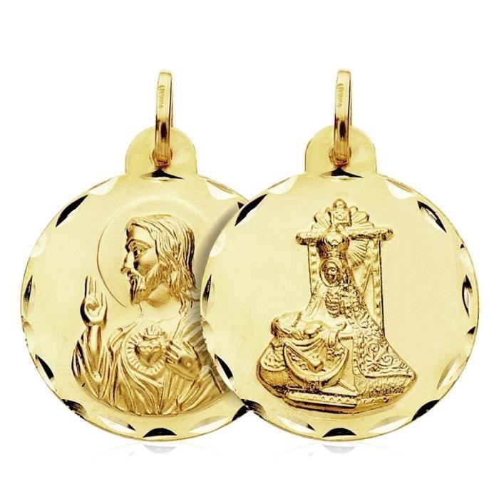 Médaille pendentif 18k or Scapulaire Virgin Angoisse 24mm. [AB3438]