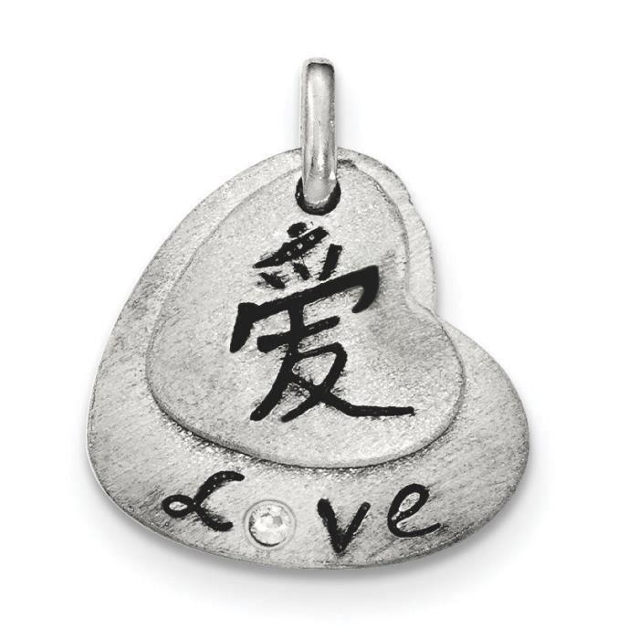 Fini satiné-en argent Sterling 925 avec pendentif en forme de cœur Love
