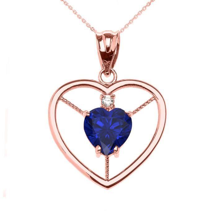 Collier Femme Pendentif Élégant 14 Ct Or Rose Diamant et Septembre Pierre De Naissance Bleu Oxyde De Zirconium Cœur Solitaire (Li...