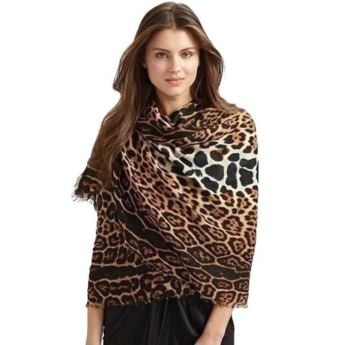 Femme Surdimensionné écharpe léopard foulards en laine chaude double ... 3fac53e5608