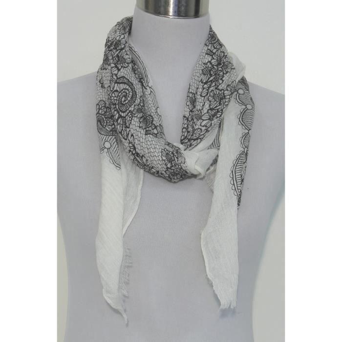 Foulard femme noir et blanc viscose fleurs Noir - Achat   Vente ... 3fb487499d3