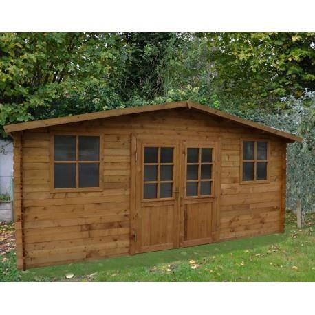 Abri de jardin 16m² en bois massif autoclave teinté marron - Achat ...