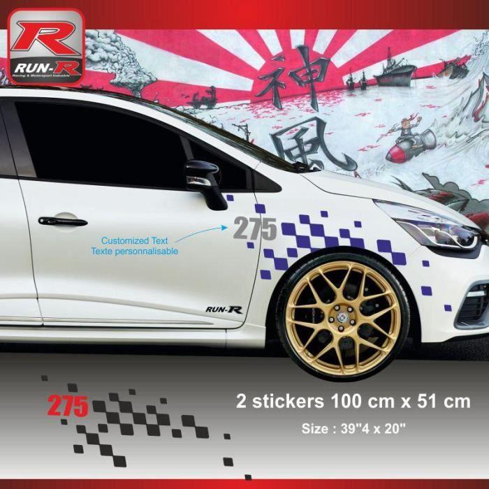 Sticker Personnalisable Pour Aile Avant De Renault Clio Rs Aufkleber Adesivi Marine Argent Adnauto