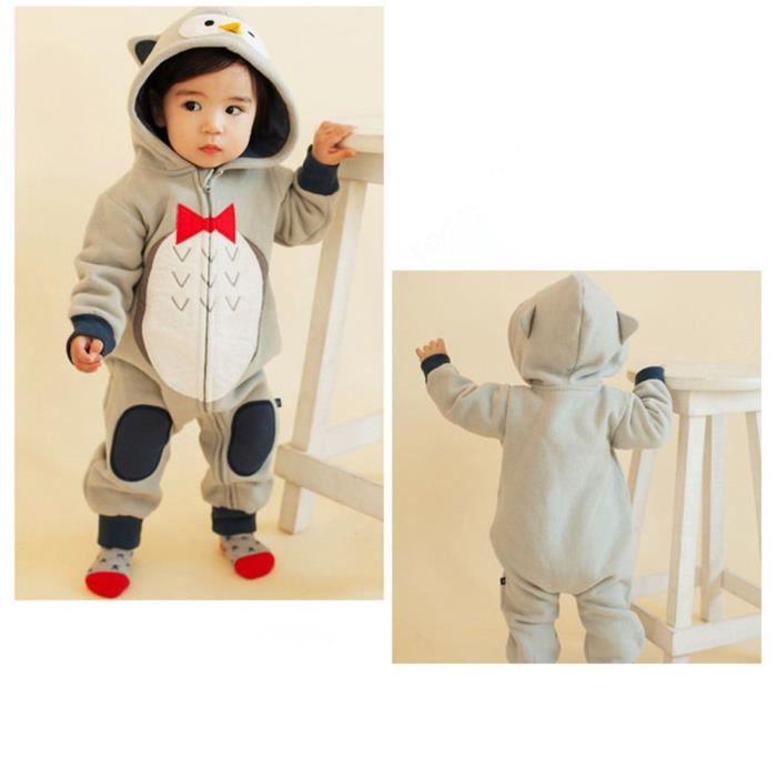 78681723b3e2f Bébé Pyjama Filles Garçons Unisexe Combinaisons Chaud Barboteuses À Capuche  Manteaux Pour Enfants Gris Hibou - 12-18 mois M(85CM)