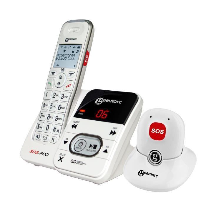 Téléphone fixe sénior GEEMARC Téléphone sans fil grosses touches sénior