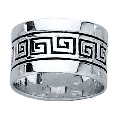 Bague Anneau Motif Grec Antique Argent