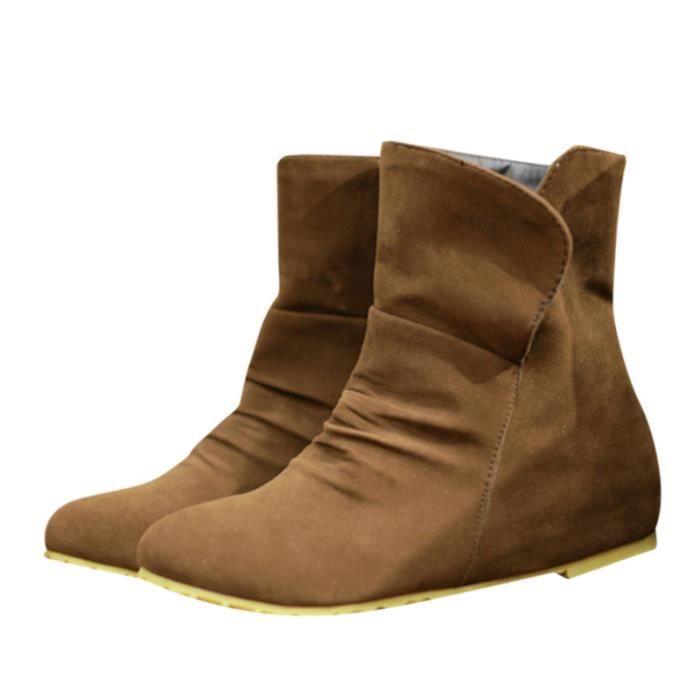 Femme Hee Fille Duveteux De Boots Vin Plat beige Lger Marron Grand rouge noir UrrwExq5