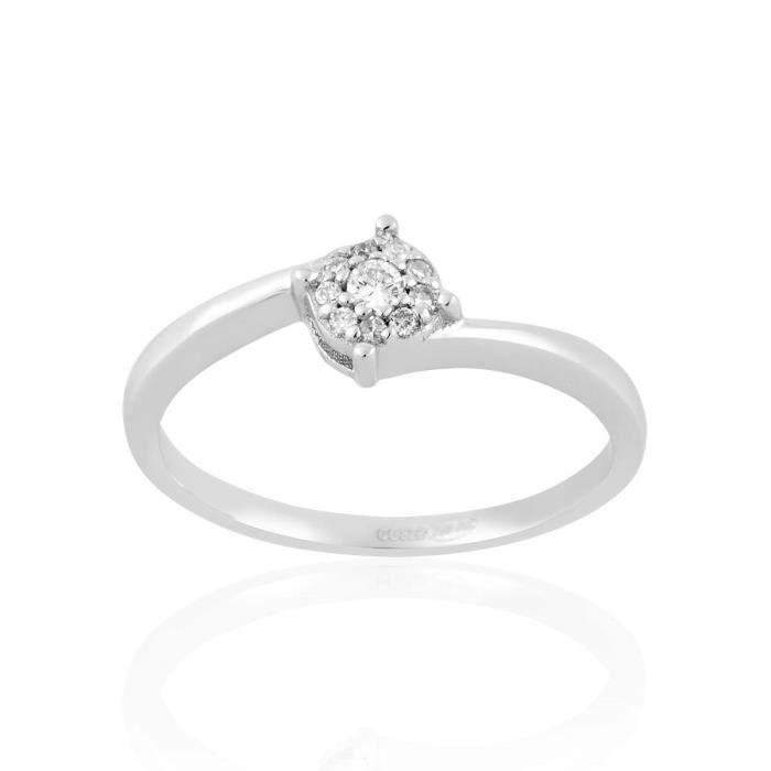 Bague CLEOR en Or 750/1000 Blanc et Diamant Blanc