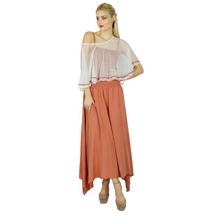 le meilleur Nouvelle achat spécial Bimba Femmes Robe Longue Maxi Smocks Taille Haut Vient Avec Poncho Haut  Chic Cap, Marron