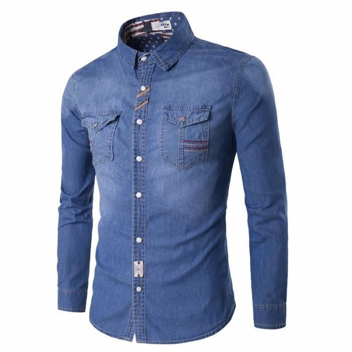 1be1ec9b2ed Bleu Clair Chemise Homme en Denim Jeans Classique Slim Fit Manche Longue  Poches Plaqué au Poitrine Col Roulé en Coton Vêtement