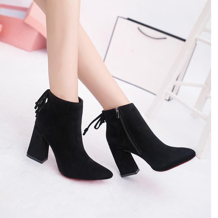 Bottes courtes cylindriques élégantes bottes à talons hauts talons Abkle noeud chaussures d'hiver@hyu-522